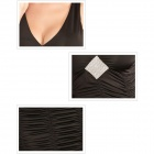 2549-2 courbe sexy Fold strass Polyester + Spandex V-col Robe de cocktail - Noir (Taille L)