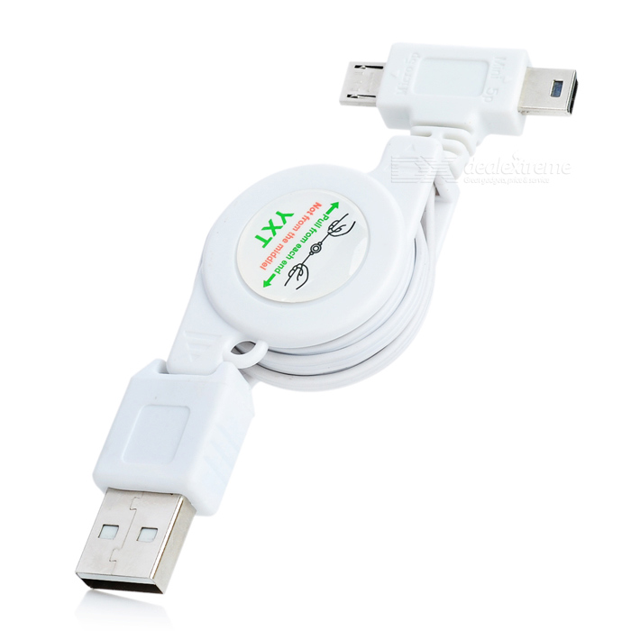 Retractable USB Male to Micro USB Male / Mini USB Male Charging + Data Cable - White (70cm) usb 3 0 male to mini usb 10 pin male data cable for mobile hard disk drive white 100cm