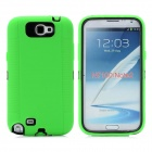 Protective Plastic + Silicone Anti-Shock Case for Samsung Galaxy Note 2 N7100 - Green + Black