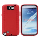 Protective Plastic + Silicone Anti-Shock Case for Samsung Galaxy Note 2 N7100 - Dark Red + Black