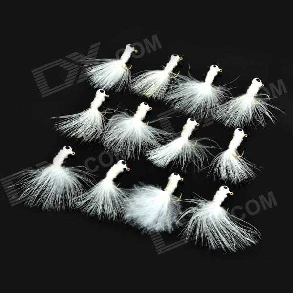 YZD Fishing Lead + Chick's Feather Hooks - White (12 PCS)