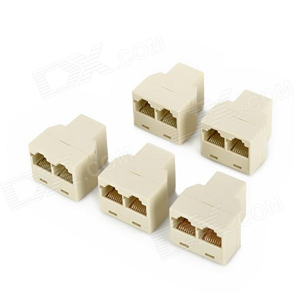 RJ45 8P8C 1-to-2 Female to Female Splitter Coupler Connector Adapters - Beige (5 PCS) db9 female to rj45 female modular adapter