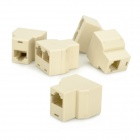 RJ45 8P8C 1-to-2 Female to Female Splitter Coupler Connector Adapters - Beige (5 PCS)