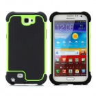 Protective Plastic + Silicone Anti-Shock Case for Samsung Galaxy Note 2 N7100 - Black + Green
