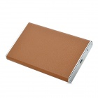 "Lichee Pattern PU Leather External 2.5"" SATA HDD / SSD USB 3.0 HDD Enclosure Case - Brown + Silver"
