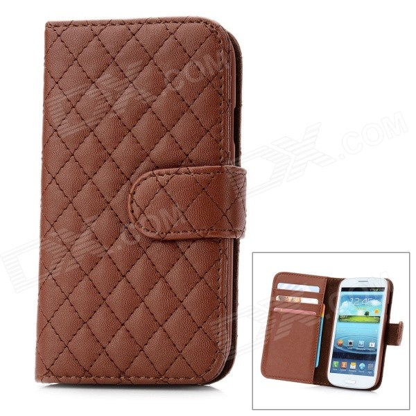 Checked Patterns Protective Sheepskin Leather Flip-Open Case for Samsung Galaxy S3 - Brown football patterns protective pc artificial leather case for samsung i9300 i9308d green