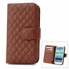 Check Patterns Protective Sheepskin Leather Flip-Open Case for Samsung Galaxy S3 - Brown