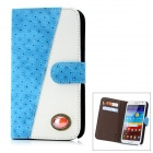 Protective CrystalPU Leather Case for Samsung Galaxy Note 2 N7100 - Blue + White