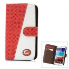 Protective CrystalPU Leather Case for Samsung Galaxy Note 2 N7100 - Red + White