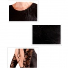 2383 Elegant Sexy Polyester + Spandex Backless Lace Long Sleeve Cocktail Dress - Black (Size L)