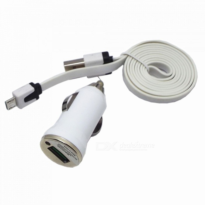 Car Cigarette Lighter Plug Power Charger w/ Flat Micro USB Male to USB Male Charging Cable - White лестница деревянная лесенка лес 715 универсальная