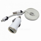 Car Cigarette Lighter Plug Power Charger w/ Flat Micro USB Male to USB Male Charging Cable - White