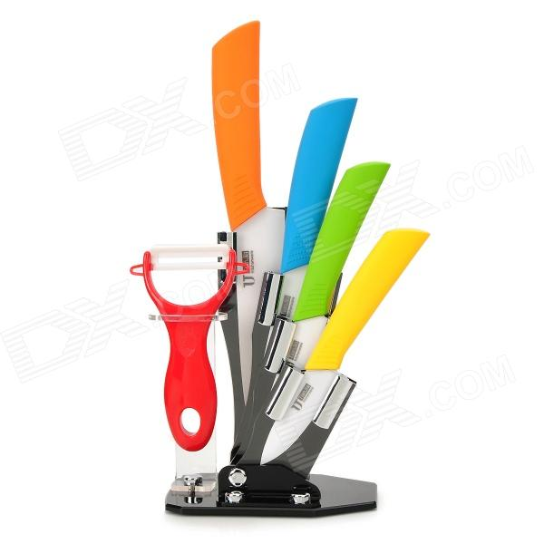 TJC-018 6-in-1 Zirconia Ceramic Knives + Peeler + Acrylic Knives Holder Set - Multicolored