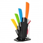 6-in-1 Zirconia Ceramic Knives + Peeler + Acrylic Knives Holder Set - Multicolored