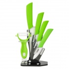 TJC-018 6-in-1 Zirconia Ceramic Knives + Peeler + Acrylic Knives Holder Set - Green