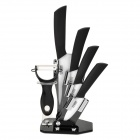 TJC-018 6-in-1 Zirconia Ceramic Knives + Peeler + Acrylic Knives Holder Set - Black