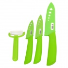 TJC-022 4-in-1 3'' 4'' 6''Ceramic Knives + Peeler Set - Green