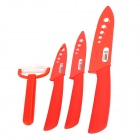 "TIMHOME KITCHENWARE U 4-in-1 3"" 4"" 6"" Ceramic Knives + Peeler Set - Red"