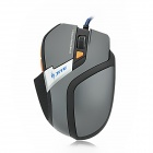 JITE 2048-3 USB Wired 800 / 1000 / 1200 / 1600dpi 6D Game Optical Mouse - Grey + Black (170cm-Cable)