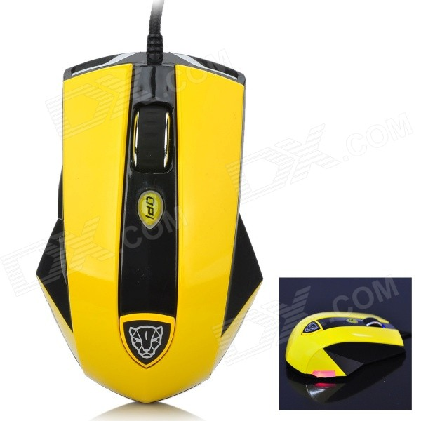 Motospeed V9 USB Wired Optical Game Mouse - Black + Yellow (170cm-Cable)