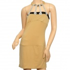 Chic Sophisticated Sexy Curve Rhinestone Meryl Cocktail Dress - Light Tan