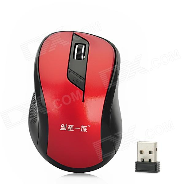 JianShenYiZu JS-W02-HONGSE Wireless 2.4GHz 500~1000dpi Optical Mouse - Red + Black (2 x AAA) motospeed g310 fashion wireless 1000dpi optical mouse black red 1 x aa