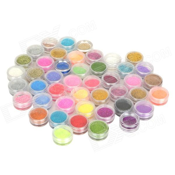 Shinning DIY uñas artificiales lentejuelas decorativas Set Powder - multicolor (45 PCS)