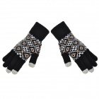 Cute Pattern 5-Finger Capacitive Screen Touching Hand Thicken Warmer Gloves - Black (Pair)