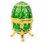 YLS007 Egg Style Jewelry Box / Casket / Decoration w/ Rhinestones - Green + Golden