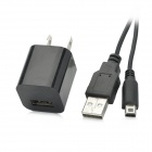 USB US Plug Power Adapter w/ Charging Cable for Nintendo 3DSLL / 3DSXL / DSiLL + More - Black
