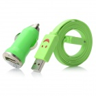 XL-3302 Car Charger + Micro USB Male to USB Male Smile LED Flat Data Cable Set - Green