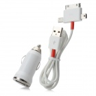 A-X01 Car Charger + USB Male to Mini USB / Micro USB / Apple 30-Pin Data Cable Set - White