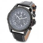 ORKINA P0004-B Fashion Man's Artificial Leather Band Analog Quartz Waterproof Wrist Watch - Black