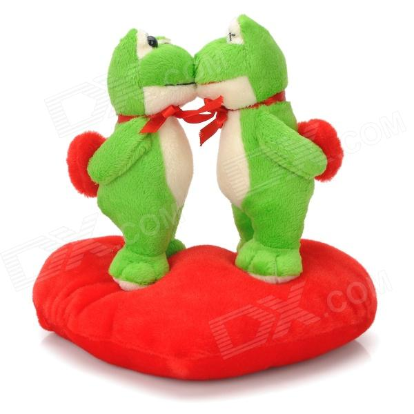 Sweat Kiss Frog Couple Doll Valentines Gift - Red + Green 2016 hot sale 45cm frog superme dolls pose frog doll plush toys sesame street stuffed animal plush frog 70cm frog for gift