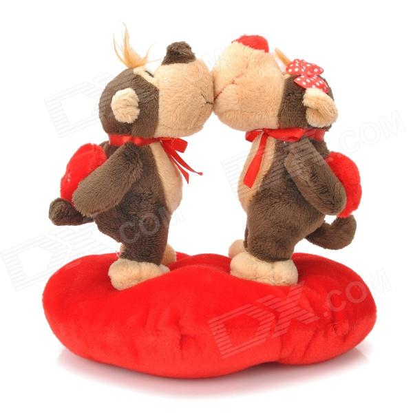 Sweat Kiss Monkey Couple Doll Valentines Gift - Red + Brown + Beige rakesh kumar pharmacology and behaviour of rhesus monkey macaca mulatta
