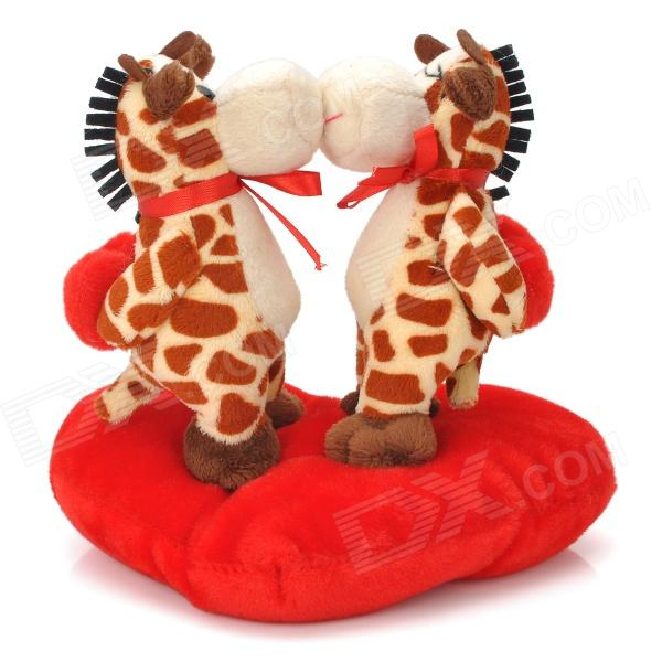 Sweat Kiss Giraffe Couple Doll Valentines Gift - Red + Brown + Beige lovely bear couple doll decoration brown