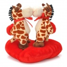 Sweat Kiss Giraffe Couple Doll Valentines Gift - Red + Brown + Beige