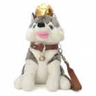 Cute Husky Dog Soft Plush Toy w/ Crown Bell - White + Grey