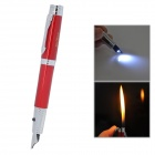 Pen Style Butane Jet Lighter w/ Flashlight - Red + Silver