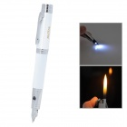 Pen Style Butane Jet Lighter w/ Flashlight - White + Silver