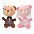 1052 Lovely Car Decoration Couple Doll Bears - Pink + Brown