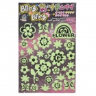 Cartoon Flower Butterfly Pattern Decorative Noctilucent Stickers - Light Green + Black