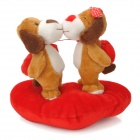 Kissing Puppies Style Plush Toy for Lovers - Red + Brown + White