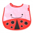 8045 Nette Beetle Pattern Baby-Water-Resistant Speichel Handtuch - Red + Pink + Black