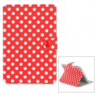 Polka Dot Pattern Protective PU Leather Case w/ Holder + Card Slots for Ipad MINI - Red + White