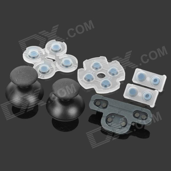 Replacement 3D Joystick Caps w/ Conductive Silicone Pad Set for PS3 - Black + White (2 PCS) от DX.com INT