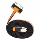 SHUS-30 Flat 30-Pin Male to USB 2.0 Male Data Sync / Charging for iPhone 4 / 4S - Orange + Black
