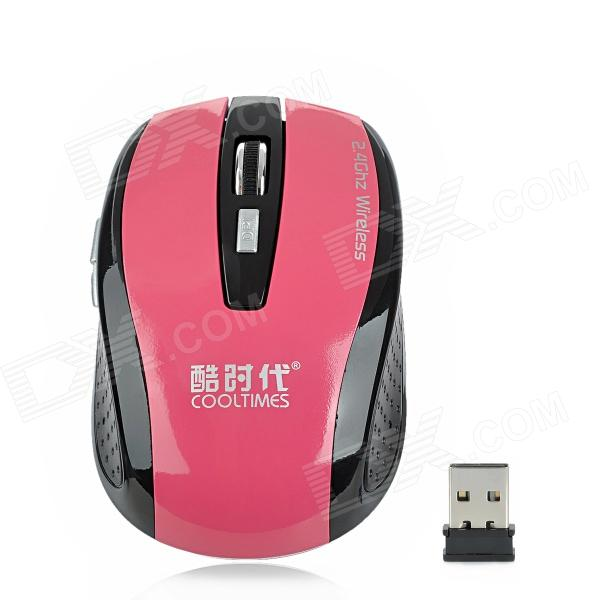 COOLTIMES M520 Wireless 2.4GHz Optical 1600dpi Game Mouse - Deep Pink + Black (2 x AAA)