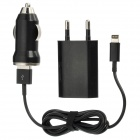 AC / Car Power Adapter + USB to 8 Pin Lightning Data Kabel Ladegerät für iPhone 5 Stellen - Black + Silver