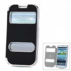 Stylish Protective Artificial Leather + Plastic Case for Samsung Galaxy S3 i9300 - Black + Silver